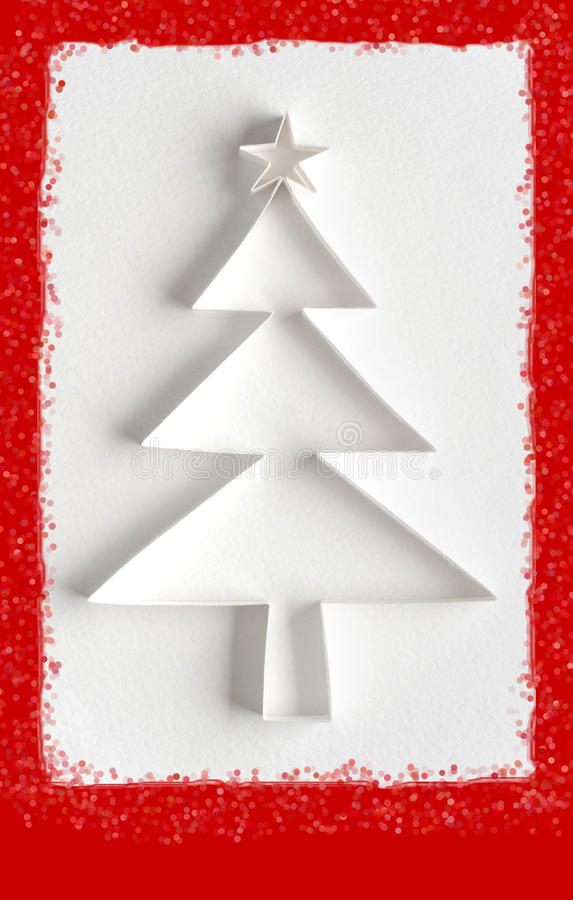 Greeting card - Christmas tree made of paper stock photo