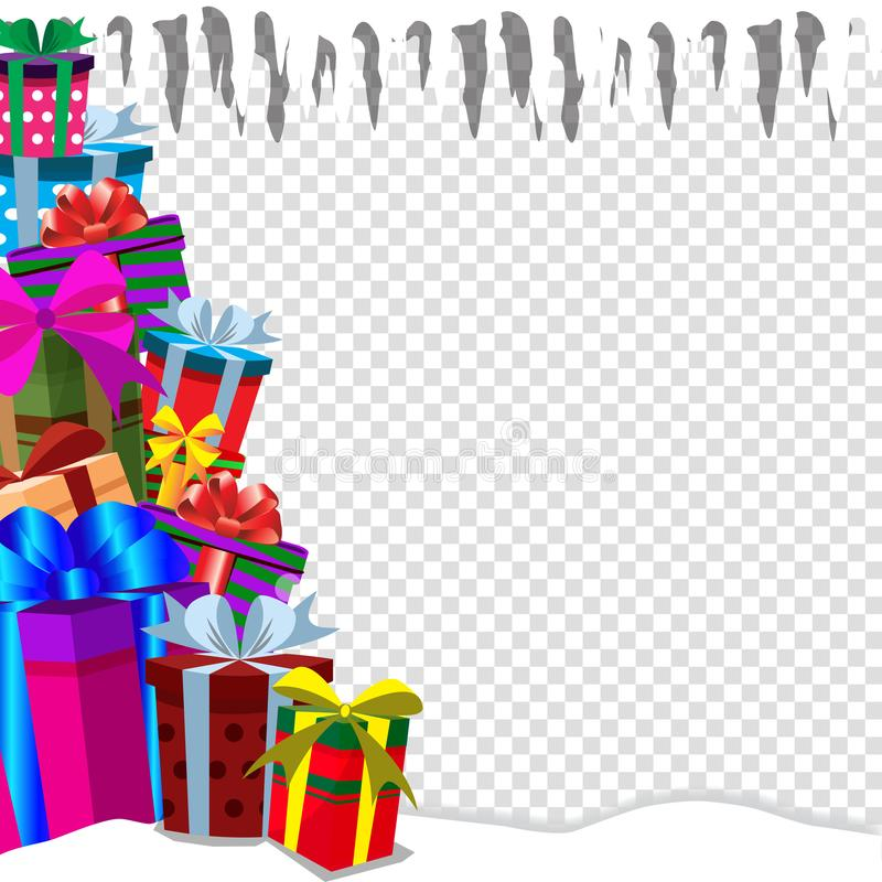 Greeting card clip art with heap of presens on snow, icicle on transparent background. Festive holiday background with gifts in traditional style. Christmas, new vector illustration