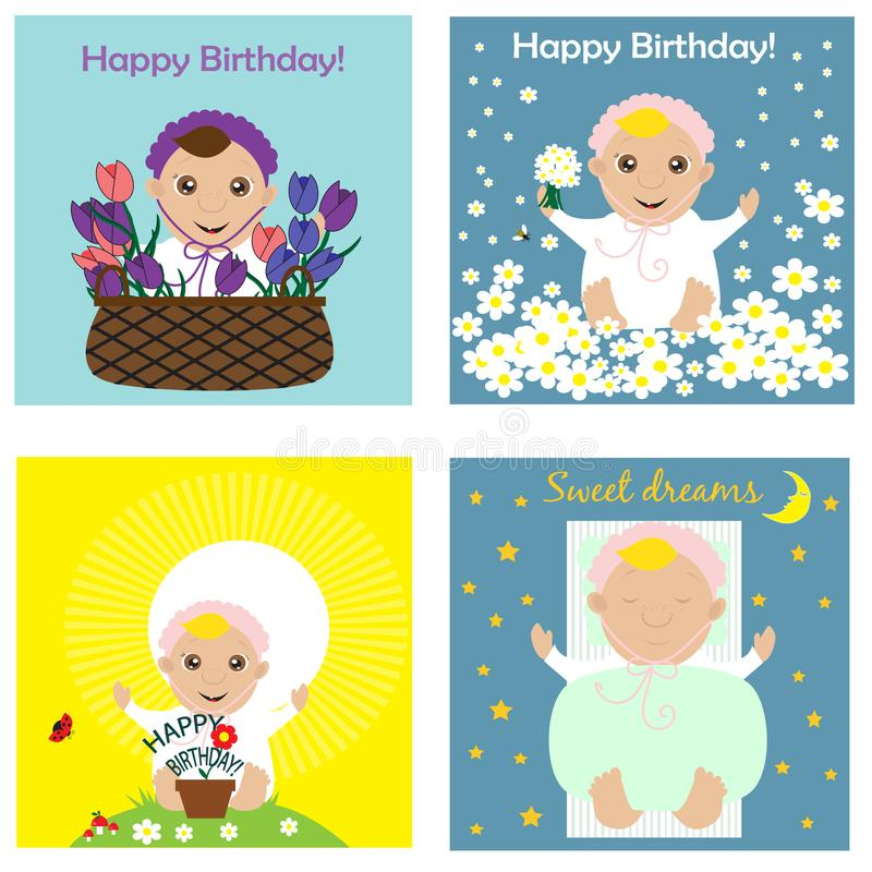 Greeting card collection with babies. Vector illustration vector illustration