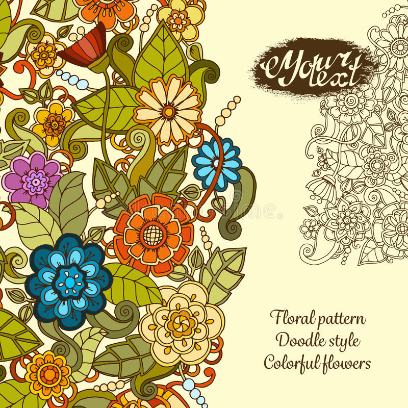 Greeting card with colorful doodle flowers. vector illustration