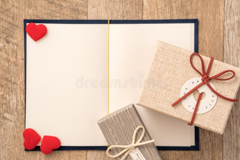 Greeting card concept of giving present and Valentine`s, anniversary, mother`s day and birthday surprise stock photo