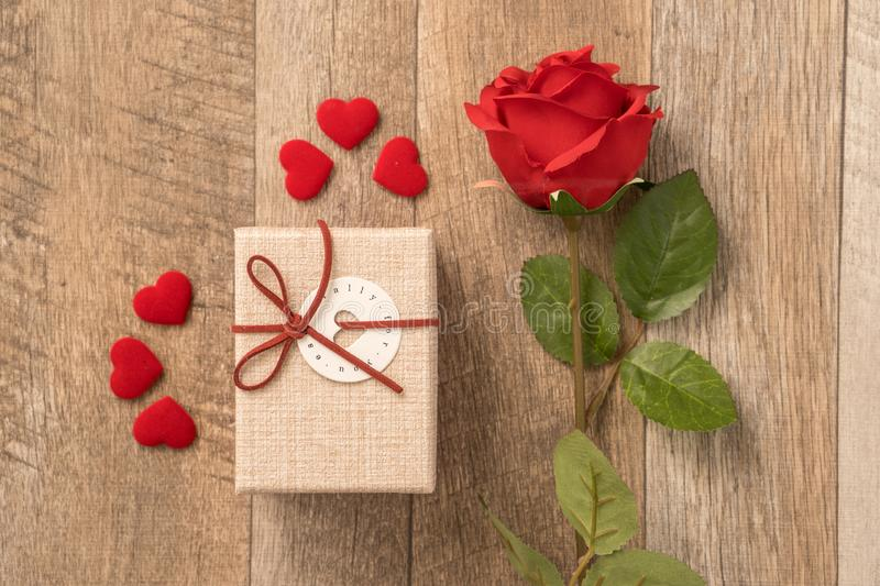 Greeting card concept of giving present and Valentine`s, anniversary, mother`s day and birthday surprise royalty free stock photography
