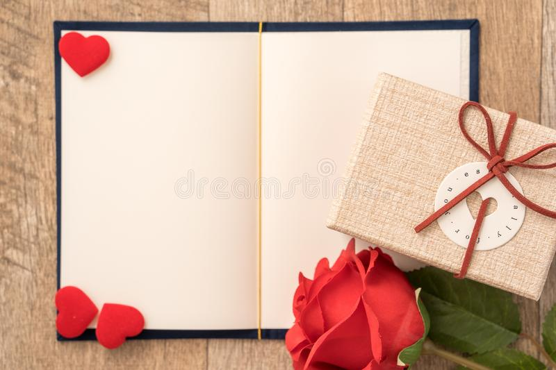 Greeting card concept of giving present and Valentine`s, anniversary, mother`s day and birthday surprise royalty free stock image