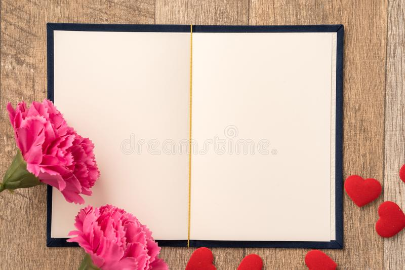 Greeting card concept of giving present and Valentine`s, anniversary, mother`s day and birthday surprise royalty free stock images