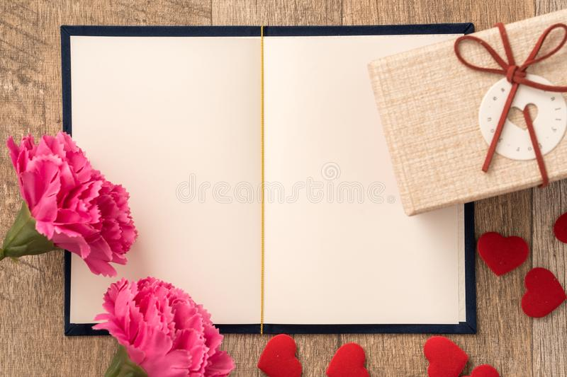 Greeting card concept of giving present and Valentine`s, anniversary, mother`s day and birthday surprise royalty free stock photo