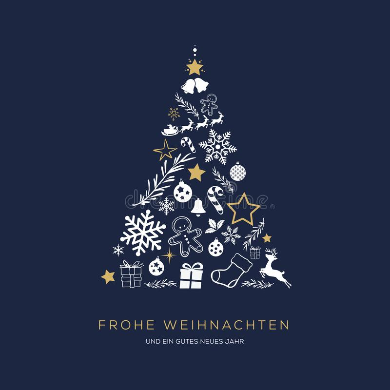 Greeting card concept with the words Merry Christmas in Germa. N. Abstract Christmas tree shape arranged with festive symbols stock illustration