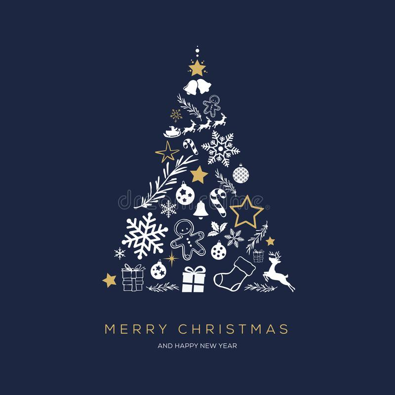 Greeting card concept with the words Merry Christmas vector illustration