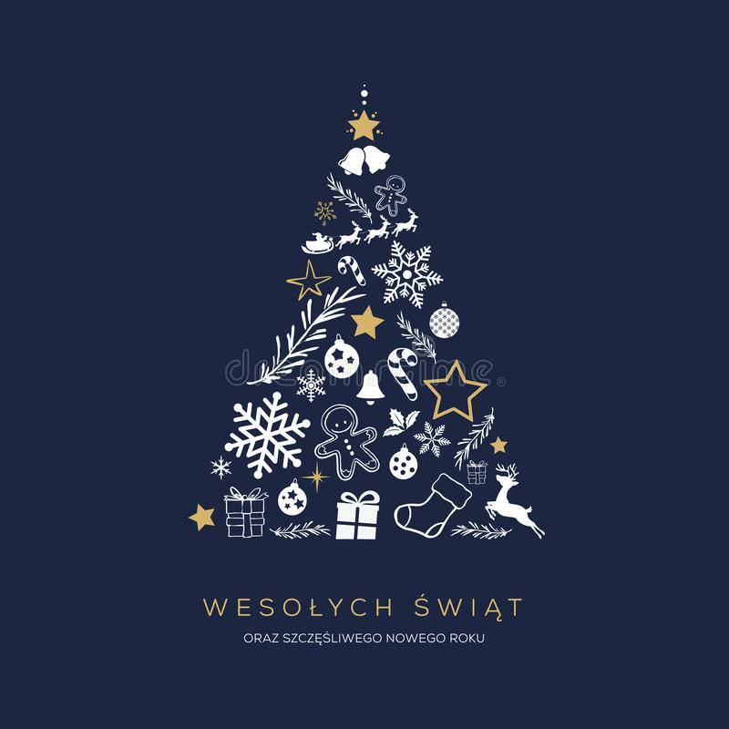 Greeting card concept with the words Merry Christmas in Polish vector illustration