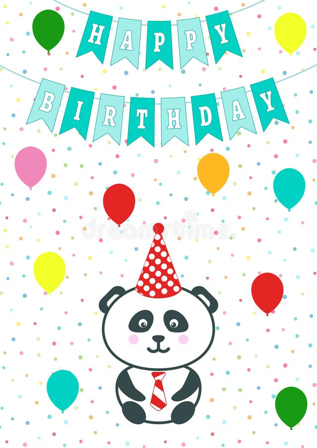 Greeting card with confetti, flags and baloons. Vector illustration. Baby boy arrival announcement, shower card. Panda cartoon bea stock illustration