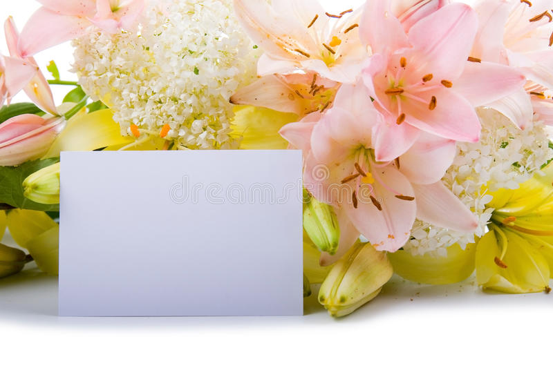 Greeting Card For Congratulations With Flowers Stock Photo