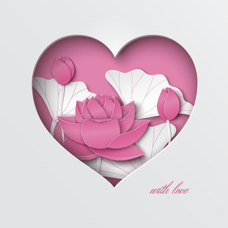 Greeting card with cut out heart, decorated floral background with lotus flowers on the pink backdrop stock illustration