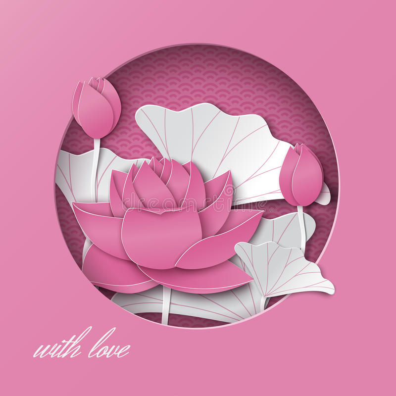 Greeting card with cut out round frame and floral background with lotus flowers on the pink oriental pattern backdrop stock illustration