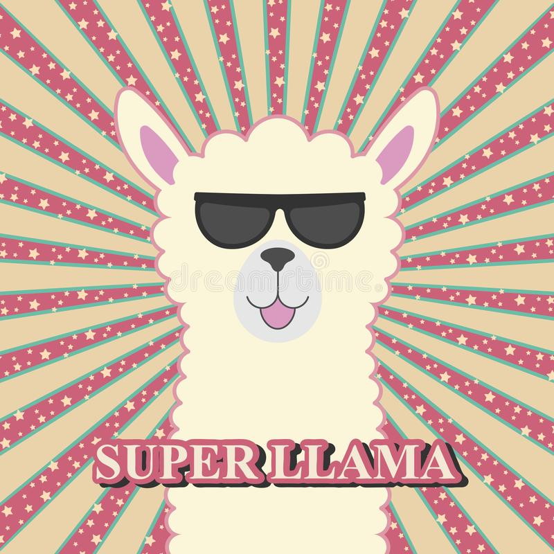 Greeting card cute adorable baby llama in sunglasses. royalty free illustration