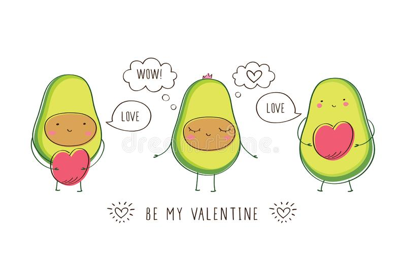 Greeting card with cute avocados, hearts and bubbles. royalty free illustration