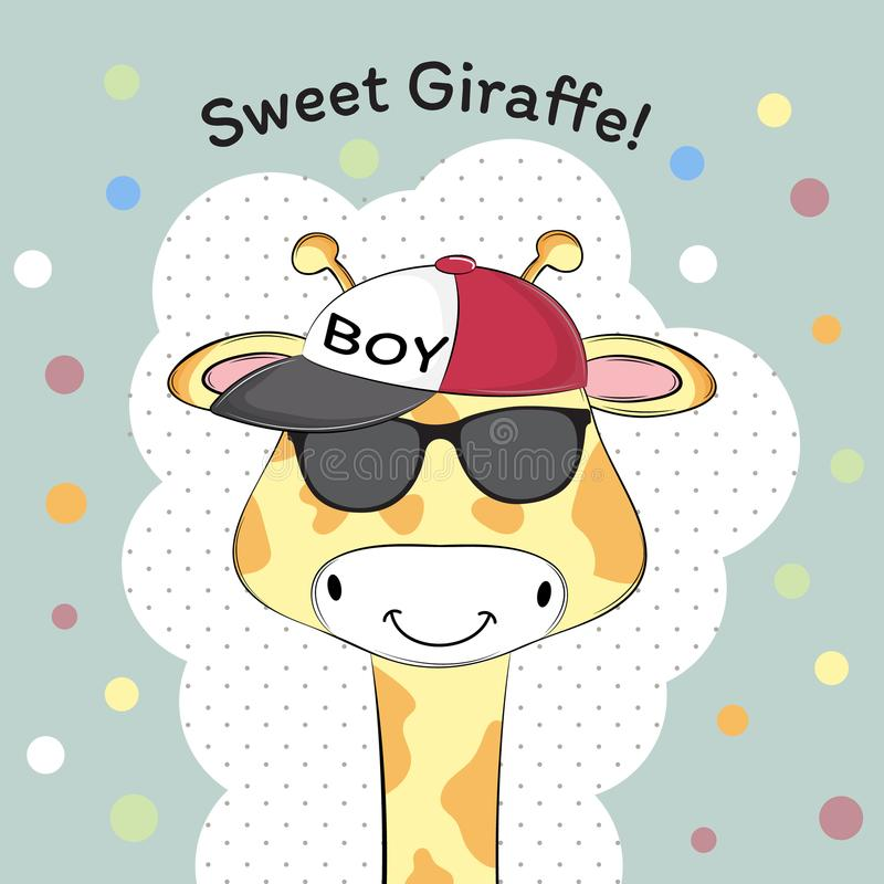 Greeting card Cute baby boy giraffe in cap. Sweet kids graphics for t-shirts royalty free illustration