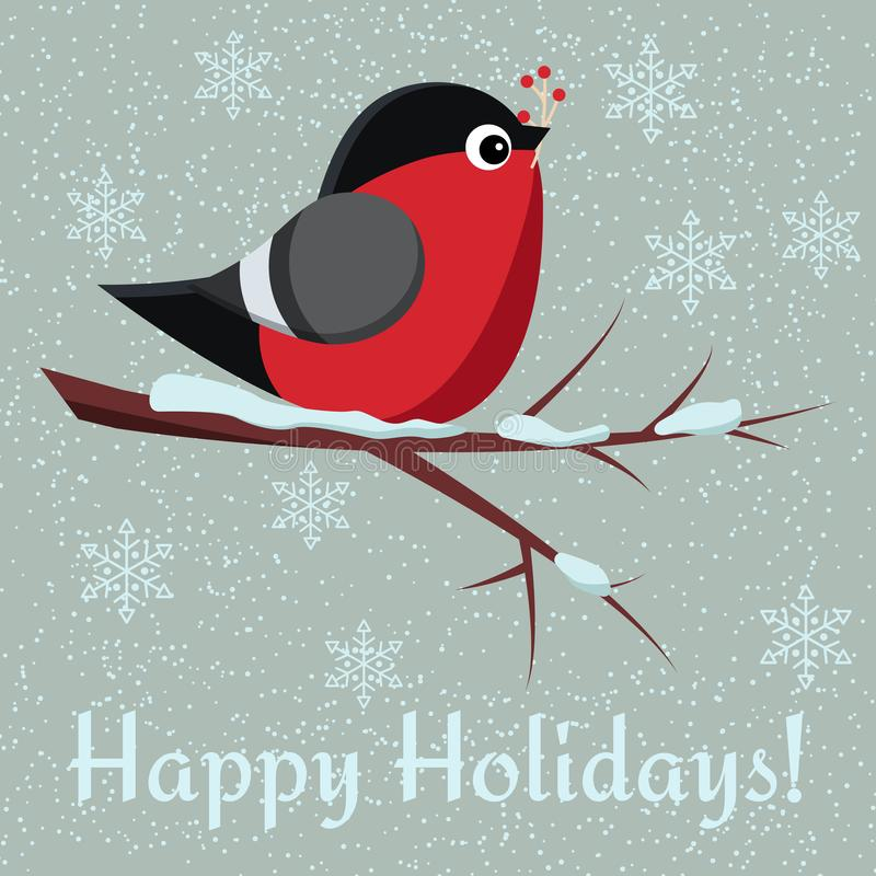 Greeting card with cute bird bullfinch sit on branch of rowan-tree with bunch of red rowanberry. On snowy background. Happy Holidays. Vector illusttation in stock illustration