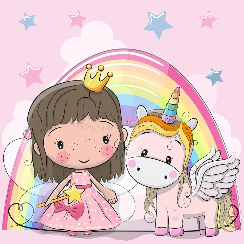 Greeting Card with fairy tale Princess and Unicorn. Greeting Card with Cute Cartoon fairy tale Princess and Unicorn