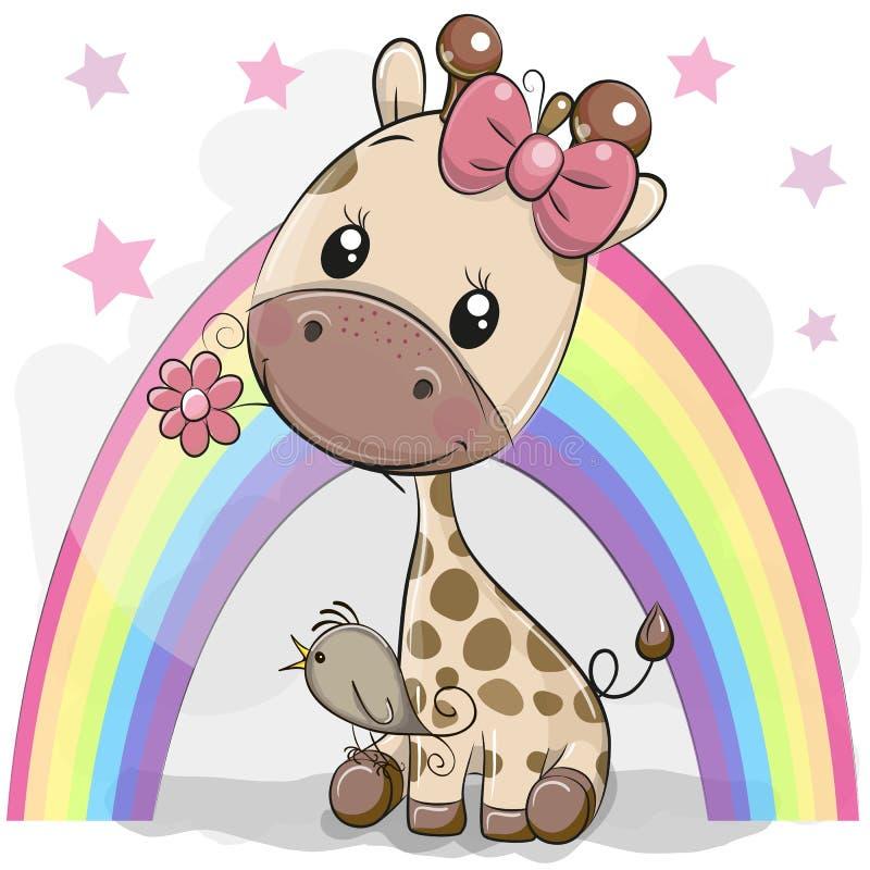 Cute Cartoon Giraffe with flower vector illustration