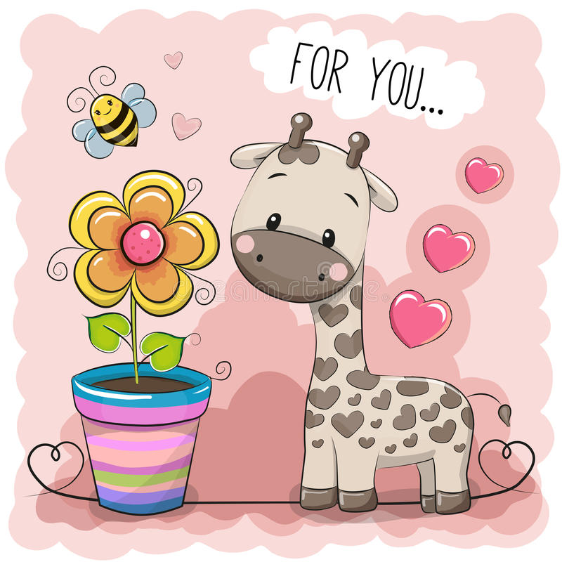 Free Greeting Card Cute Cartoon Giraffe With A Flower Royalty Free Stock Photography - 83895467