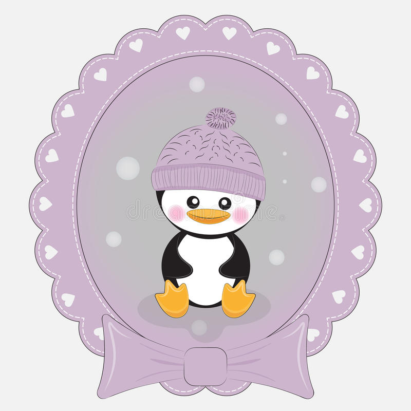 Greeting card cute cartoon penguin on a lilac background. Beautiful frame. Greeting card cute cartoon penguin on a glilac background. Vector illustratiojn royalty free illustration