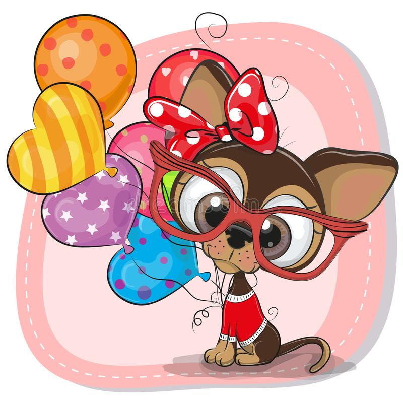 Cute Cartoon Puppy with balloons. Greeting card Cute Cartoon Puppy with balloons vector illustration