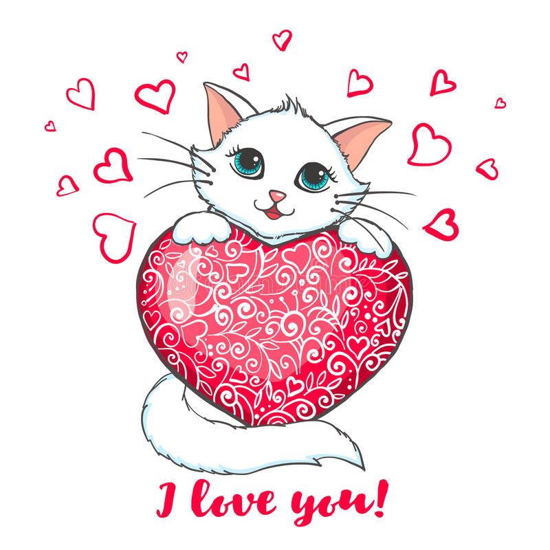 Greeting card with cute cat holding heart. Cute Cat holding heart. Love concept. Greeting card with kitten. Design element for Wedding, Birthday or Valentines royalty free illustration