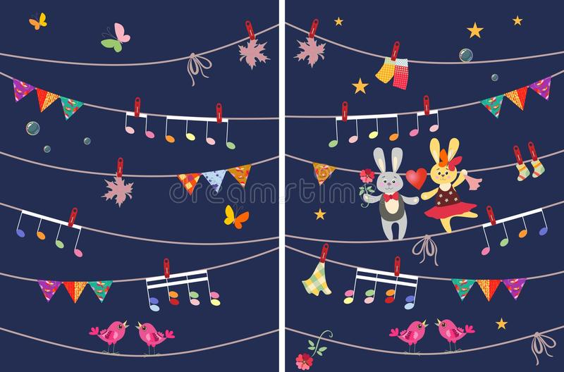 Greeting card with cute dancing bunnies and butterflies, garland, musical notes, birds and maple leaves. Design elements. royalty free illustration
