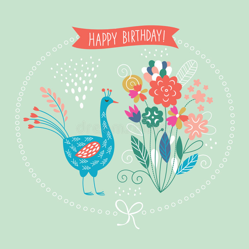 Free Greeting Card, Cute Floral Illustration Stock Images - 44878094