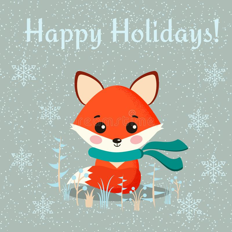 Greeting card with cute fox with scarf and wintee plants on snowy background royalty free illustration