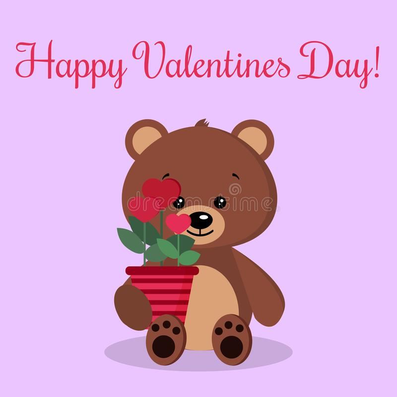 Greeting card with cute isolated romantic brown bear with a pot of flowers in the shape of hearts vector illustration