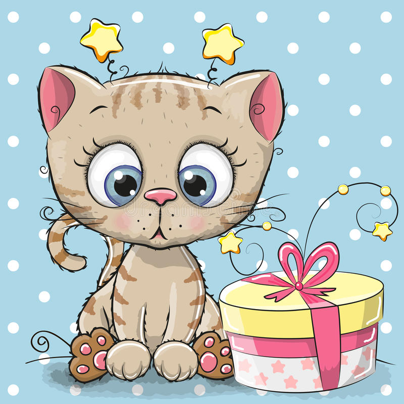 Greeting card cute Kitten with gift. On a blue background