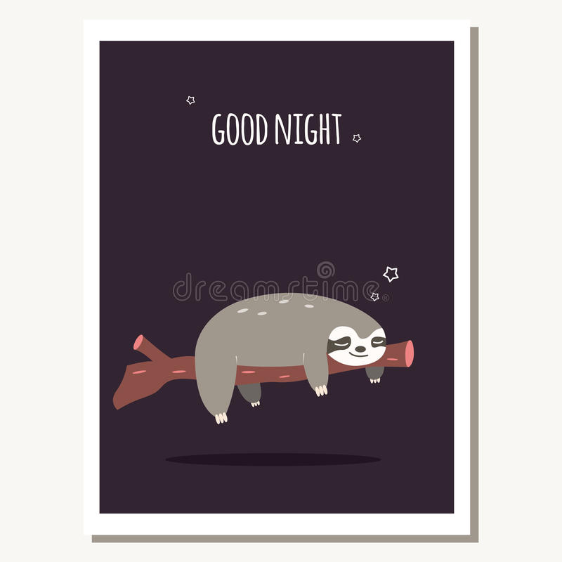 Greeting card with cute lazy sloth and text message. Vector illustration stock illustration