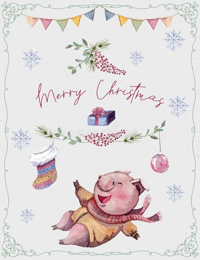 Greeting card with cute pig, fir tree, sock and snowflakes and garland. Funny cartoon character. Merry christmas and Happy New Yea vector illustration