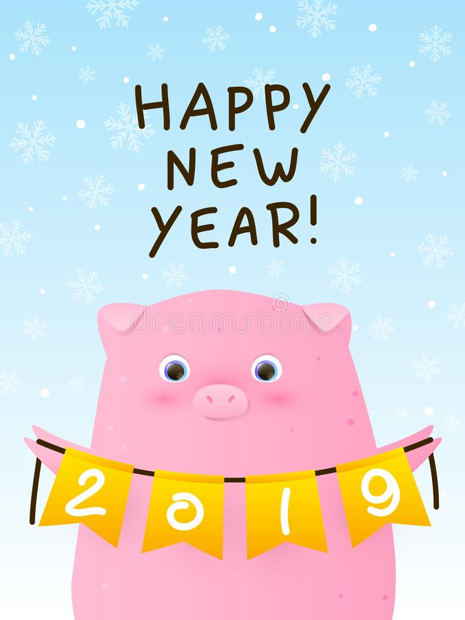 Greeting card with cute pig - a symbol of the New Year. 2019 stock illustration