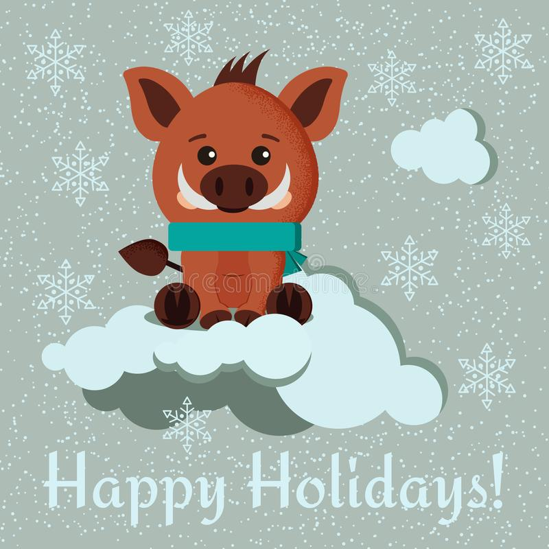 Greeting card with cute wild boar with scarf and winter clouds on snowy background vector illustration