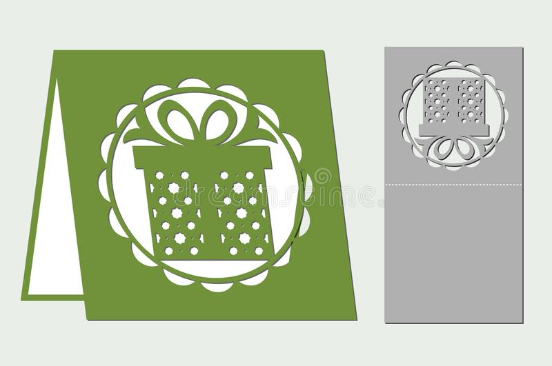 Greeting card for cutting with laser, plotter. Silhouette design. royalty free illustration
