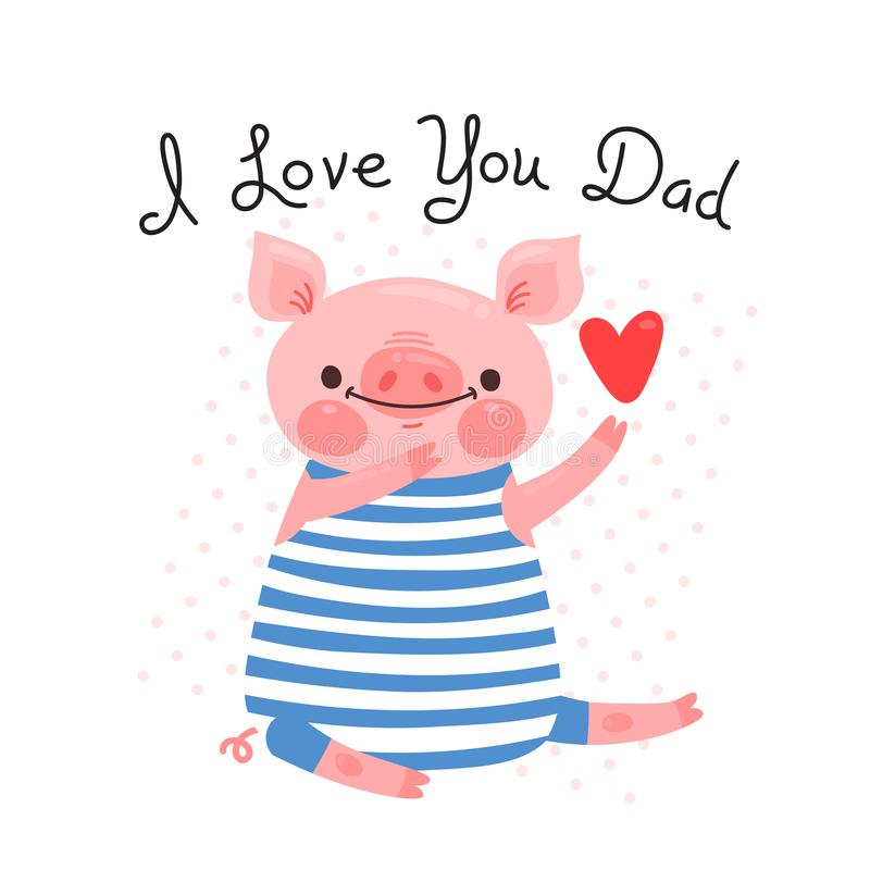 Greeting card for dad with cute piglet sweet pig declaration of download greeting card for dad with cute piglet sweet pig declaration of love vector m4hsunfo