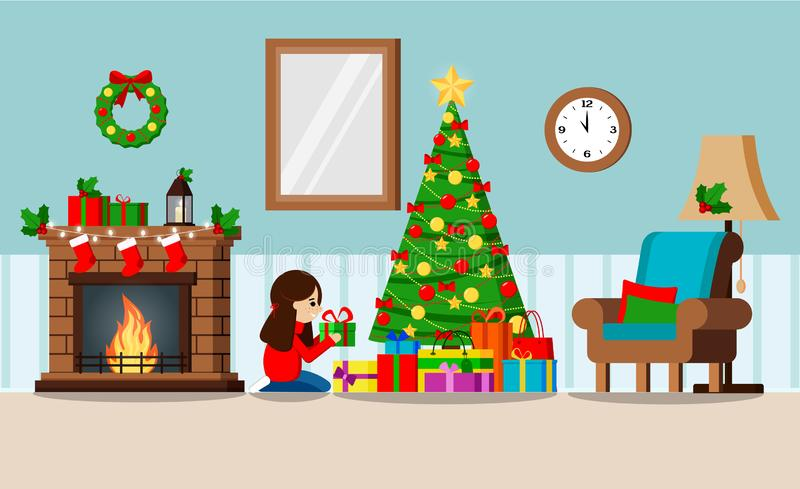 Greeting card with decorated christmas tree and gifts under the tree, fireplace, furniture vector illustration