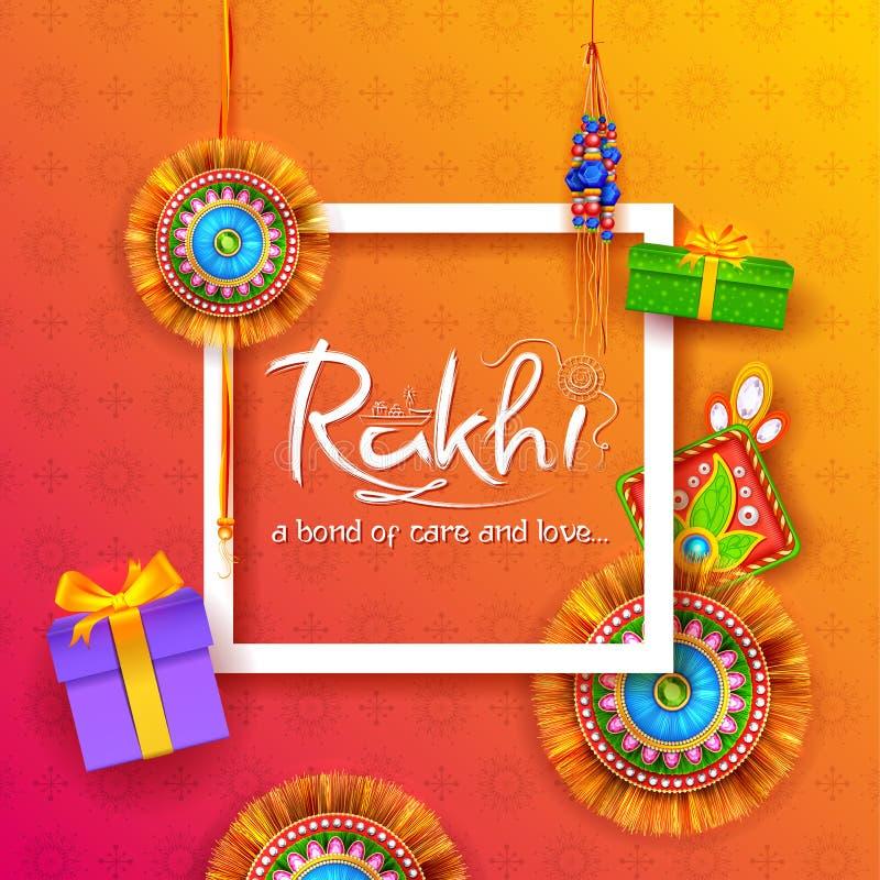 Greeting card with Decorative Rakhi for Raksha Bandhan background stock illustration