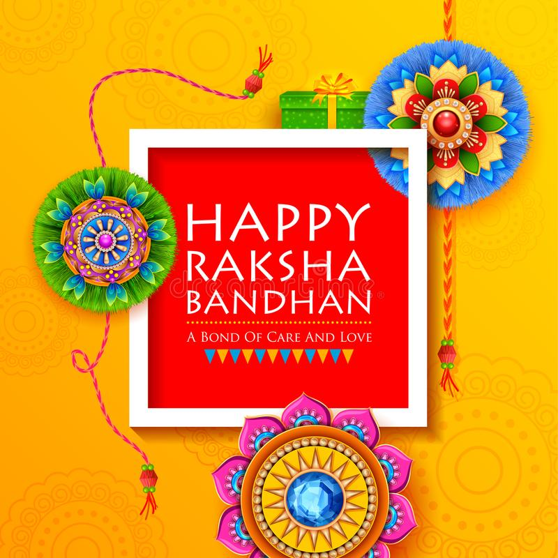 greeting card with decorative rakhi for raksha bandhan