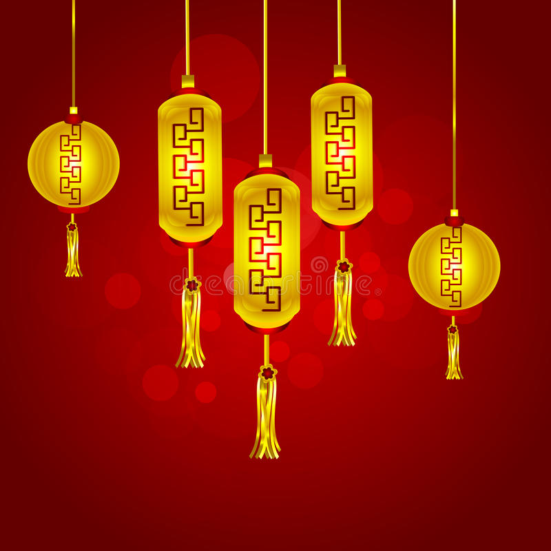 Greeting card design for Happy New Year celebrations. Chinese traditional lanterns hanging on red background for Happy New Year celebrations concept royalty free illustration