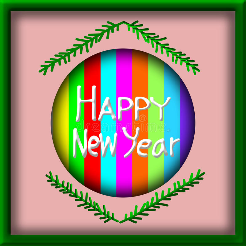 Greeting Card Design, Happy New Year in picture frame royalty free illustration