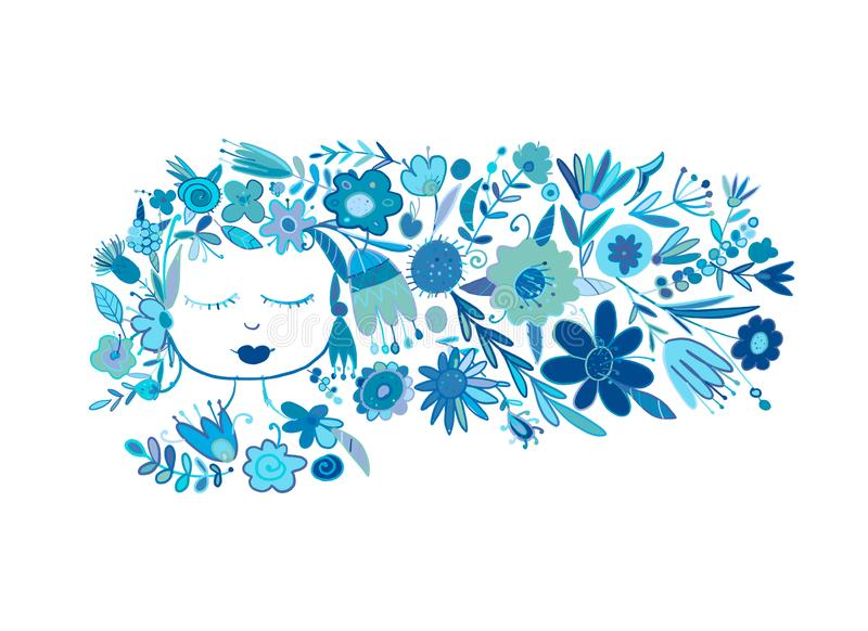 Greeting card design with pretty floral woman. Vector illustration vector illustration