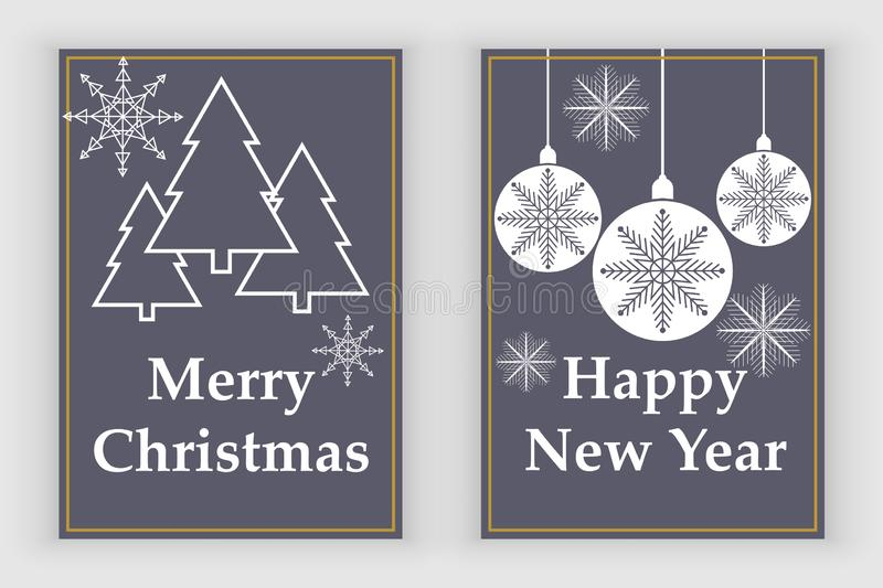 New Year greeting card design with stylized christmas ball and christmas tree. Vector illustration. Greeting card design with stylized christmas vector illustration