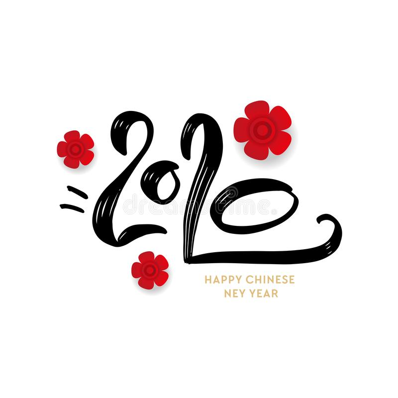 Greeting card design template with chinese calligraphy for 2020 New Year of the rat vector illustration