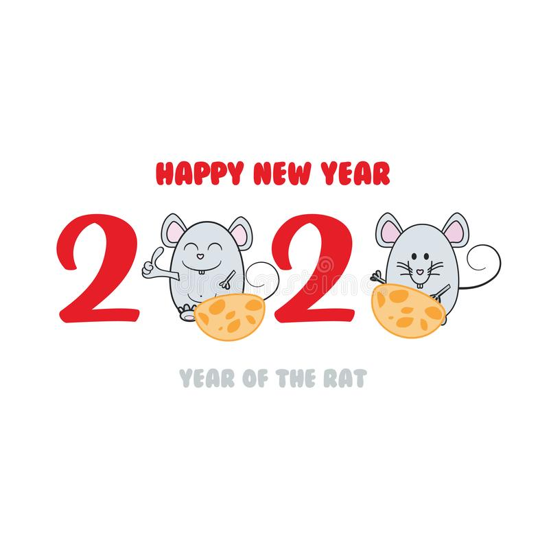 Greeting card design template with for 2020 New Year of the rat. Vector illustration vector illustration