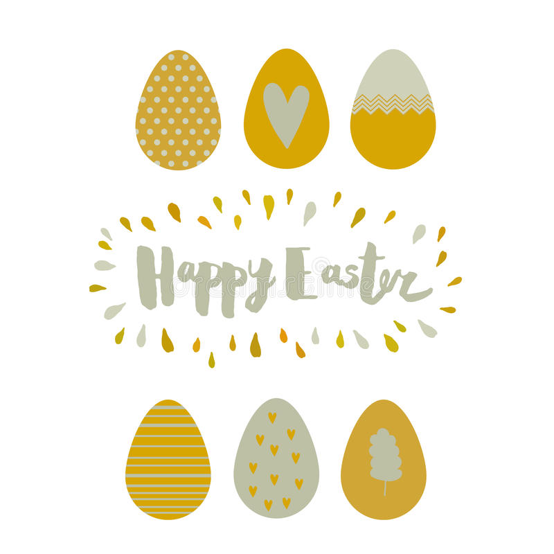 Greeting card Easter eggs and lettering. Greeting card with gold Easter eggs with abstract pattern, lettering, frame of the drops. Vector illustration on white stock illustration