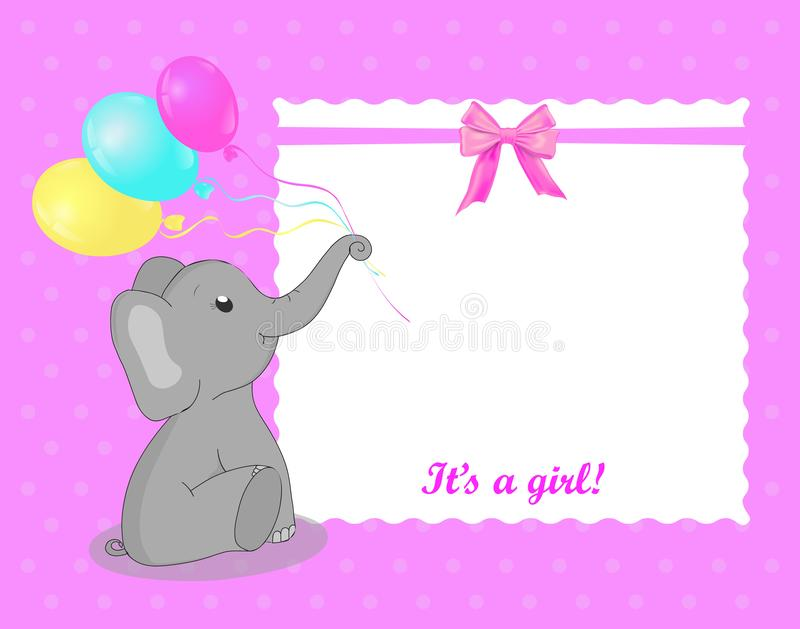 Greeting card with elephant for a girl on Baby Shower. White frame on pink background. Baby shower invitation card with grey eleph. Ant and balloons and bow royalty free illustration
