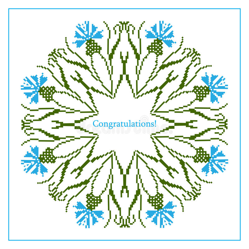 Greeting card with ethnic cornflower ornament pattern vector illustration