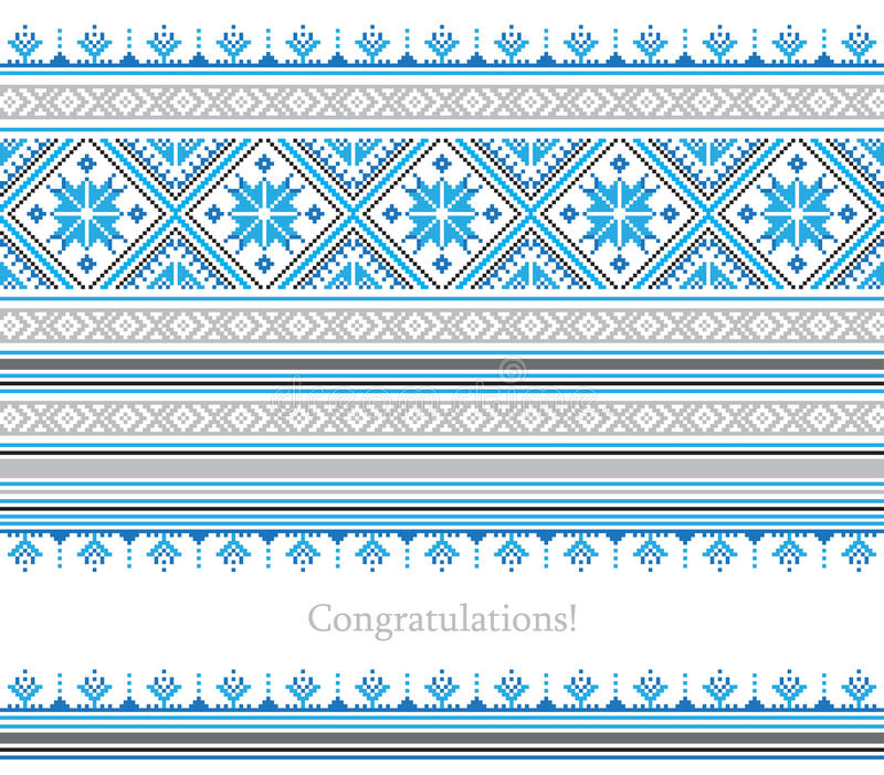 Greeting card with ethnic ornament pattern in different colors stock illustration